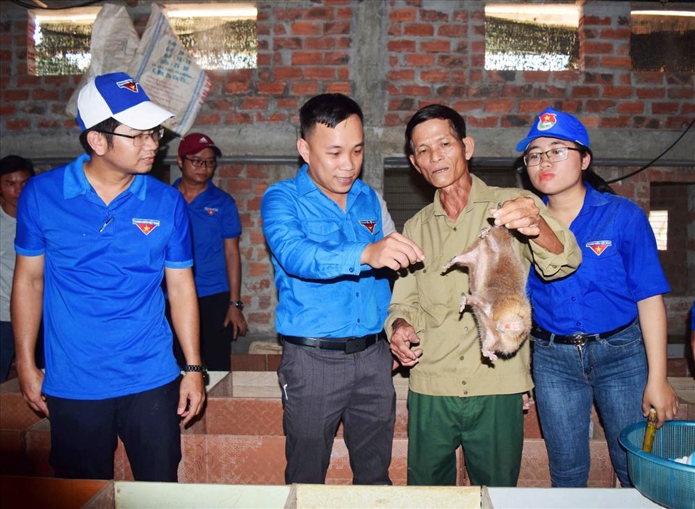 Ông Lê Văn Sáng (thôn Quảng Đại, xã Đại Cường) chia sẻ kinh nghiệm nuôi dúi cho thanh niên huyện Đại Lộc. Ảnh: THÁI CƯỜNG