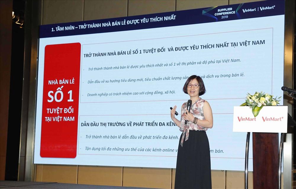 Bà Thái Thị Thanh Hải, Tổng Giám đốc Công ty VinCommerce công bố về định hướng chiến lược giai đoạn 2020 – 2025.