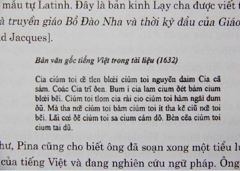 Những dòng kinh Lạy cha trong lần dịch đầu tiên ra tiếng Việt của linh mục Francisco de Fina.