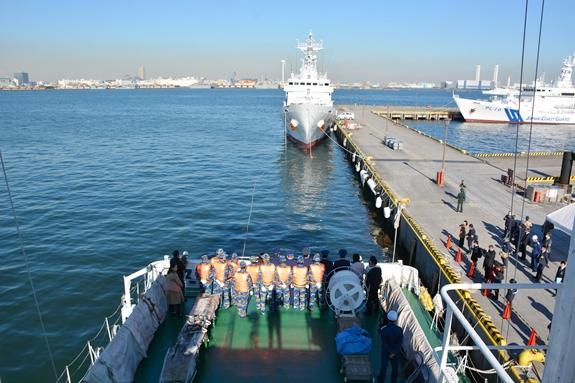 CSB Việt Nam và LLBVBB Nhật Bản luyện tập tìm kiếm cứu nạn tại cảng Yokohama. Ảnh: NAM TRUNG