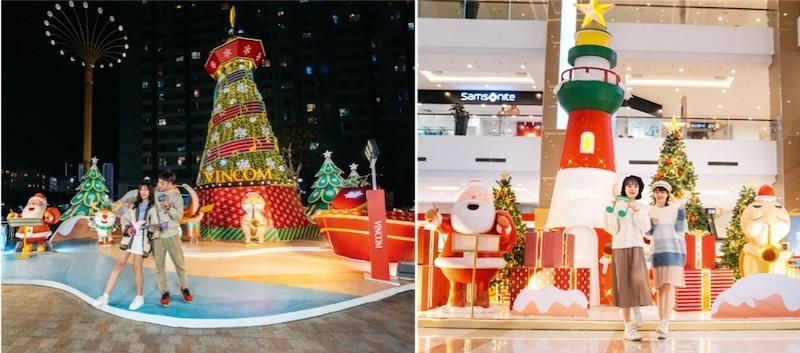 Không gian trang trí tại Vincom lấy ý tưởng về Giáng sinh tại các vùng đất khác nhau như vùng băng tuyết, vùng biển, vùng rừng