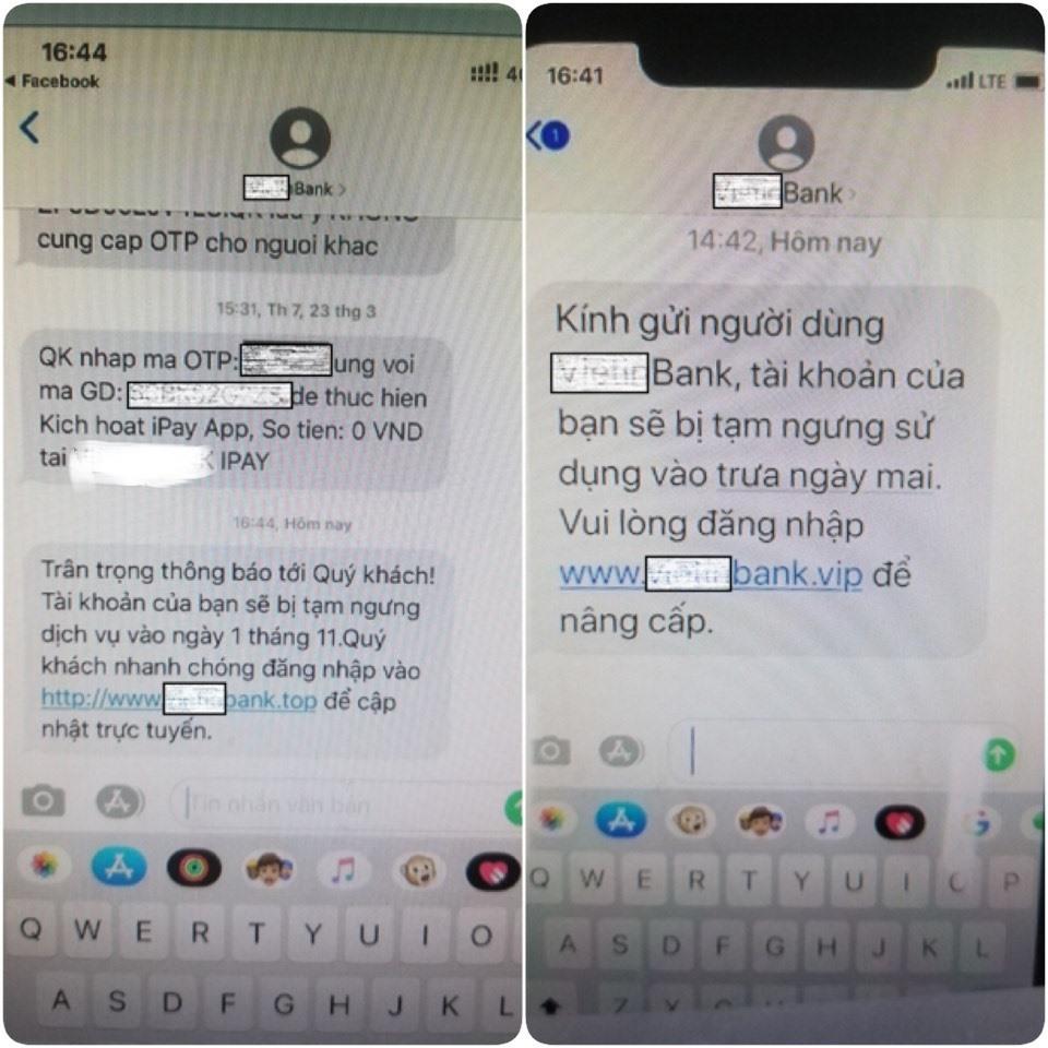 Hình ảnh một ngân hàng bị các đối tượng hack gửi tin nhắn brand name. Ảnh: bocongan.gov.vn