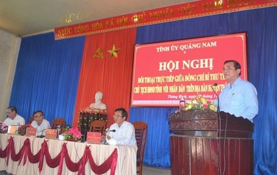 Bí thư Tỉnh ủy Phan Việt Cường kêu gọi người dân Thăng Bình đồng thuận với việc triển khai các dự án để nâng cao chất lượng cuộc sống. Ảnh: QUANG VIỆT