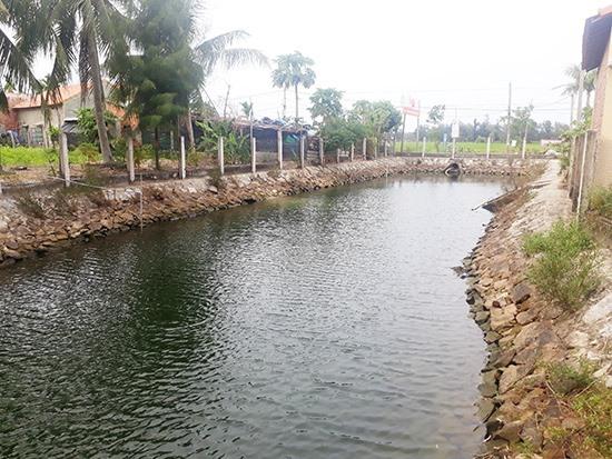 Ao thu gom nước nhĩ tại thôn Quý Ngọc góp phần chống hạn trọng vụ hè thu 2019.Ảnh: X.T