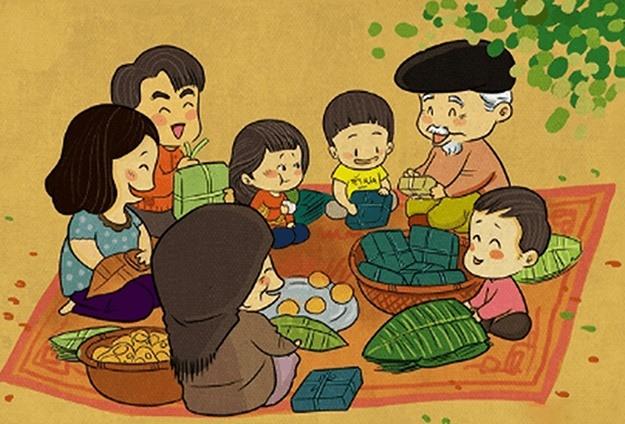 Gia đình quây quần ngày tết (tranh từ internet).