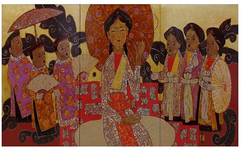 """Tranh sơn mài """"Nghệ nhân"""" của họa sĩ Nguyễn Đình Long."""