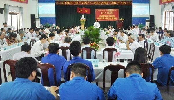Quang cảnh cuộc tọa đàm sáng 30.8 do Đảng ủy Khối các cơ quan tỉnh tổ chức. Ảnh: N.Đ