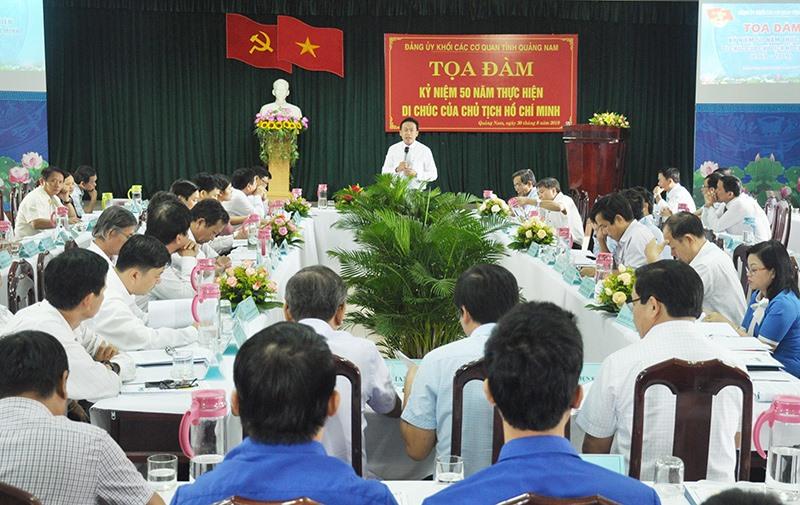 Tọa đàm kỷ niệm 50 năm thực hiện Di chúc của Bác Hồ do Đảng ủy Khối các cơ quan tỉnh tổ chức cuối tuần qua. Ảnh: N.Đ