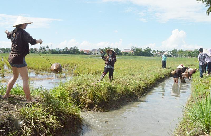 Du khách nước ngoài thử làm các công việc của nông dân tại những điểm du lịch trải nghiệm ở TP. Hội An. Ảnh: N.P