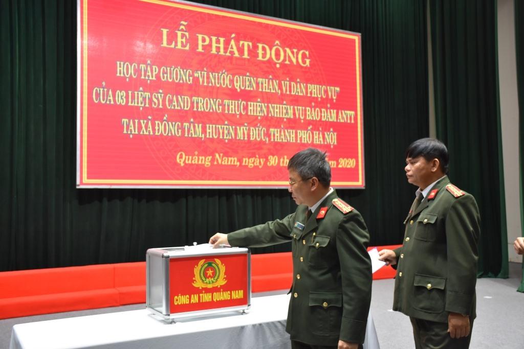 Phát huy truyền thống tương thân, tương ái, lãnh đạo, cán bộ chiến sĩ Công an tỉnh Quảng Nam quyên góp, ủng hộ 60 triệu đồng cho 3 gia đình liệt sĩ CAND.