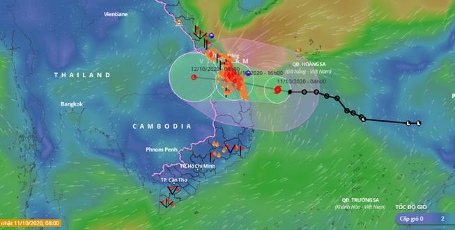 Bão số 6 đang nằm trên vùng biển các tỉnh từ Quảng Nam đến Bình Định