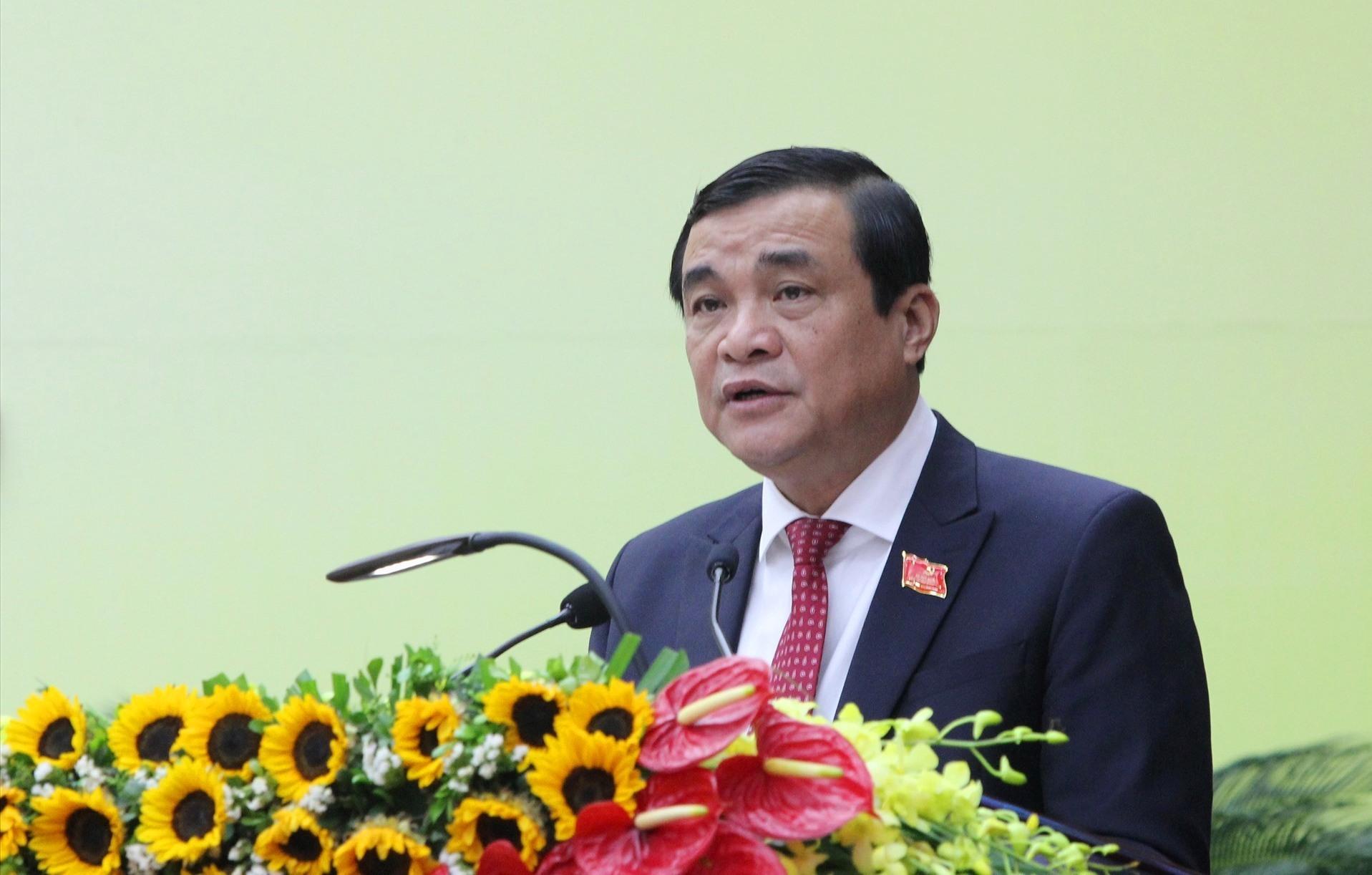 Bí thư Tỉnh ủy Phan Việt Cường đọc diễn văn khai mạc Đại hội. Ảnh: P.V