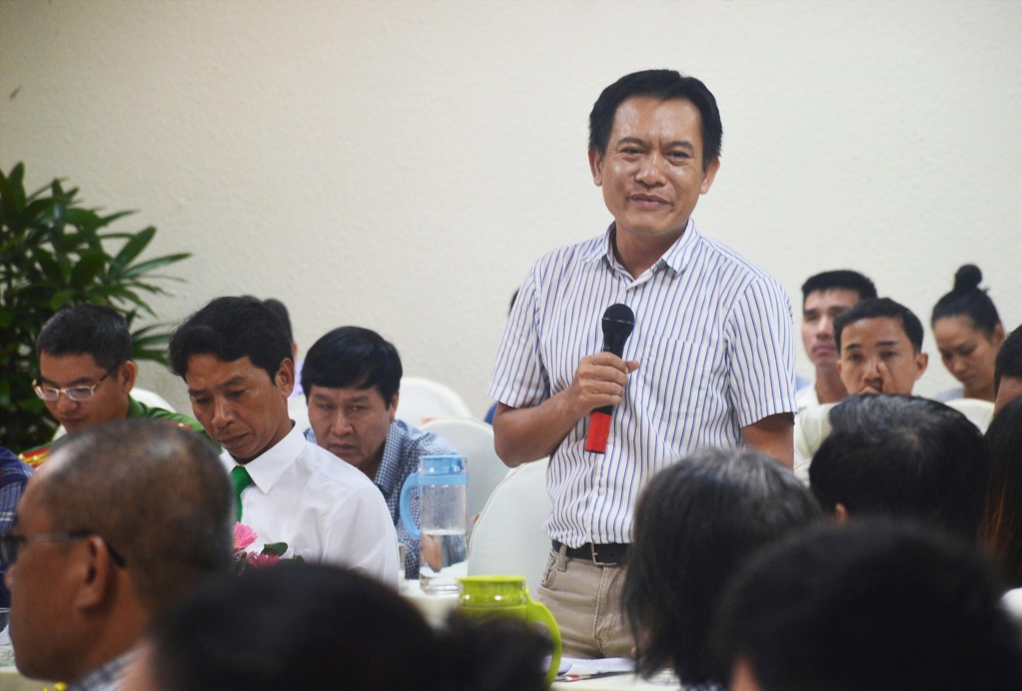 Ông Phan Xuân Thanh - Chủ tịch Hiệp hội Du lịch Quảng Nam phát biểu tại buổi gặp gỡ. Ảnh: Q.T