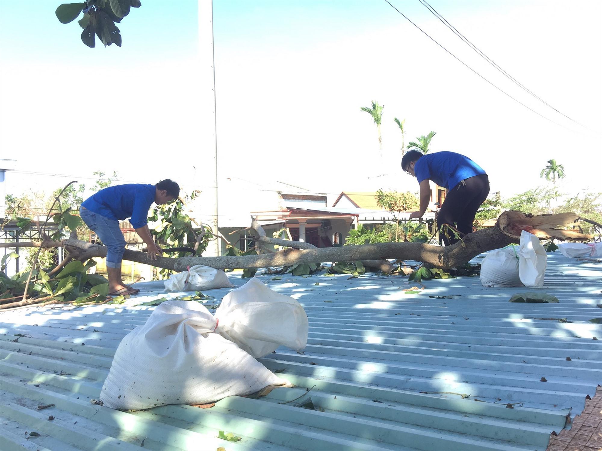 Đoàn viên thanh niên xã Điện Phước hỗ trợ dọn dẹp cây cối ngã đổ. Ảnh: CTV