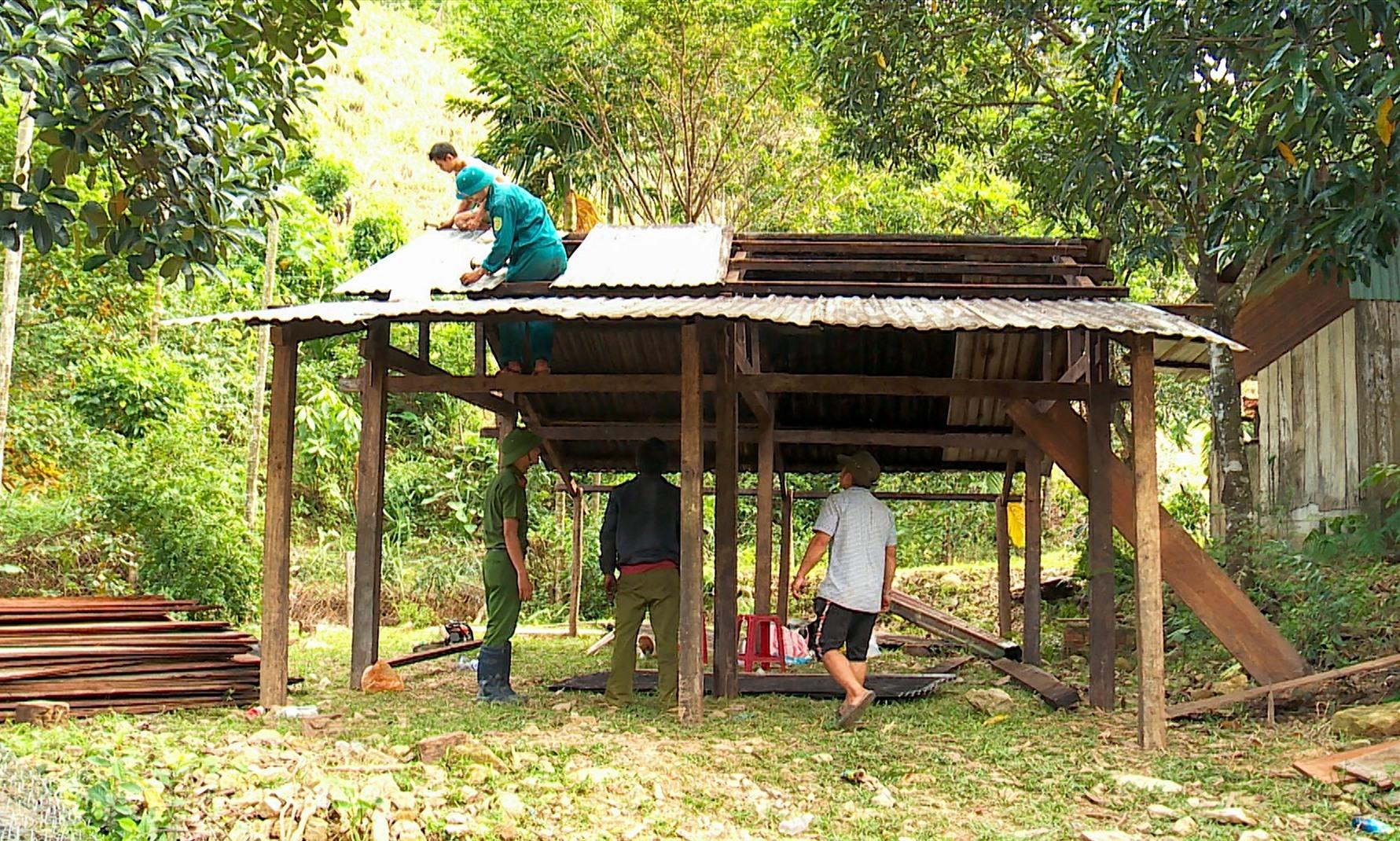 Công an xã Trà Leng hỗ trợ người dân làm nhà tạm. Ảnh: HỒ QUÂN