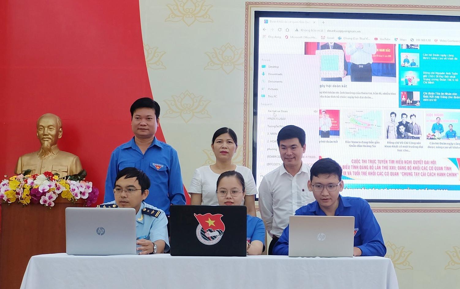 Phát động cuộc thi trực tuyến tìm hiểu Nghị quyết Đại hội Đảng và tuổi trẻ khối các cơ quan chung tay cải cách hành chính. Ảnh: M.L