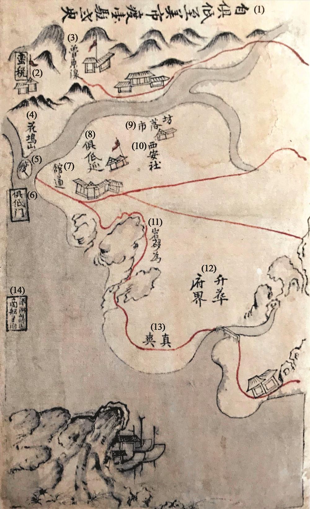 """Bản đồ đường đi qua tỉnh Quảng Nam xưa trong sách """"Quảng Thuận đạo sử tập"""". (ảnh minh họa)"""