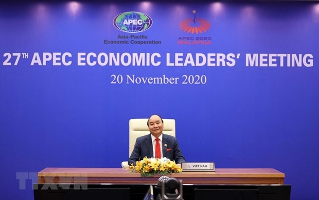 Vietnamese PM Nguyen Xuan Phuc attends the opening ceremony via video conference (Photo: VNA)