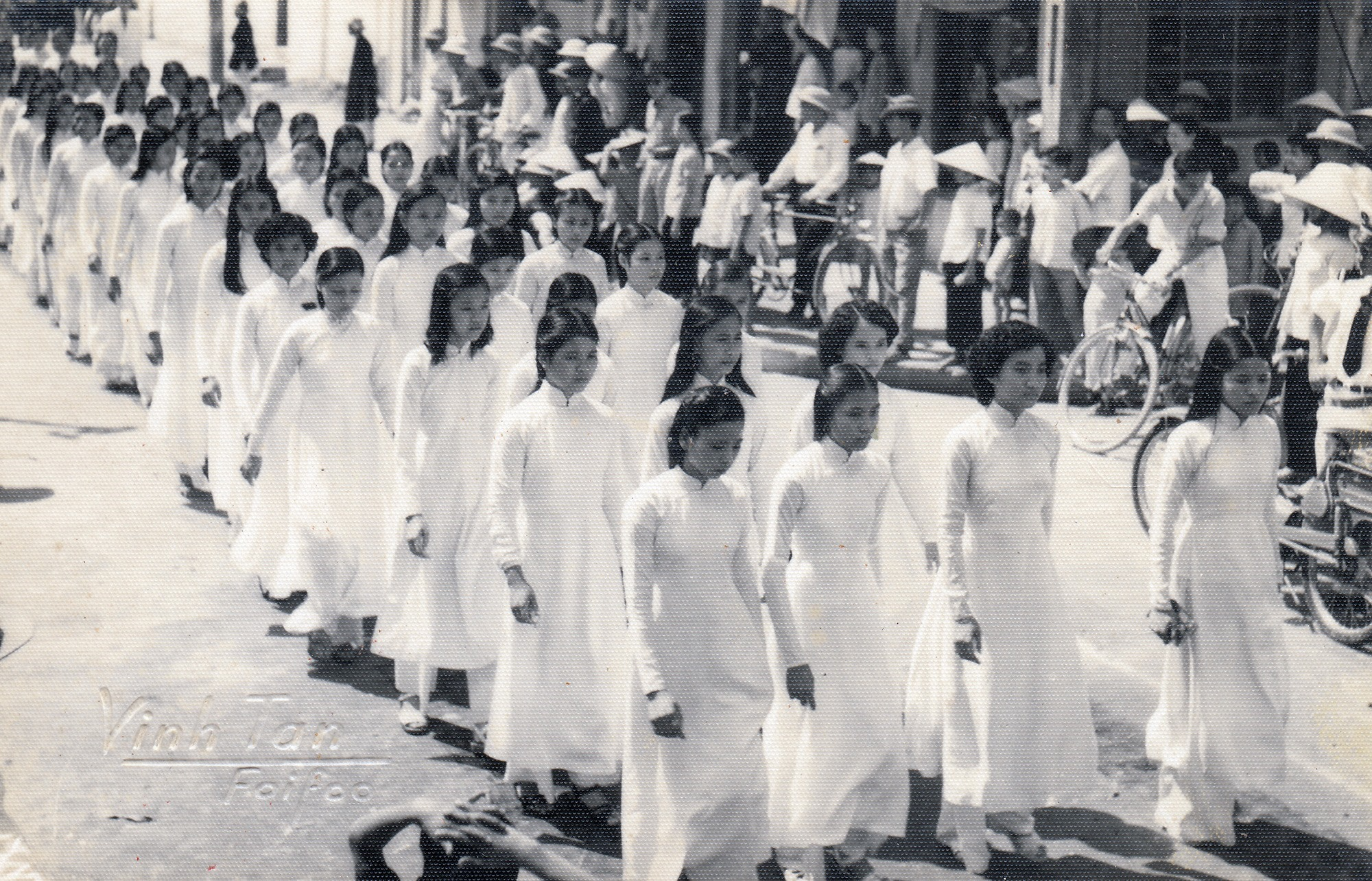 """""""Ao dai"""" in a street protest in Hoi An"""