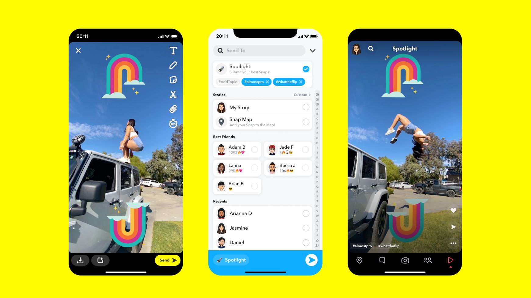 Giao diện của Spotlight có phần giống với TikTok. Ảnh: Snapchat.