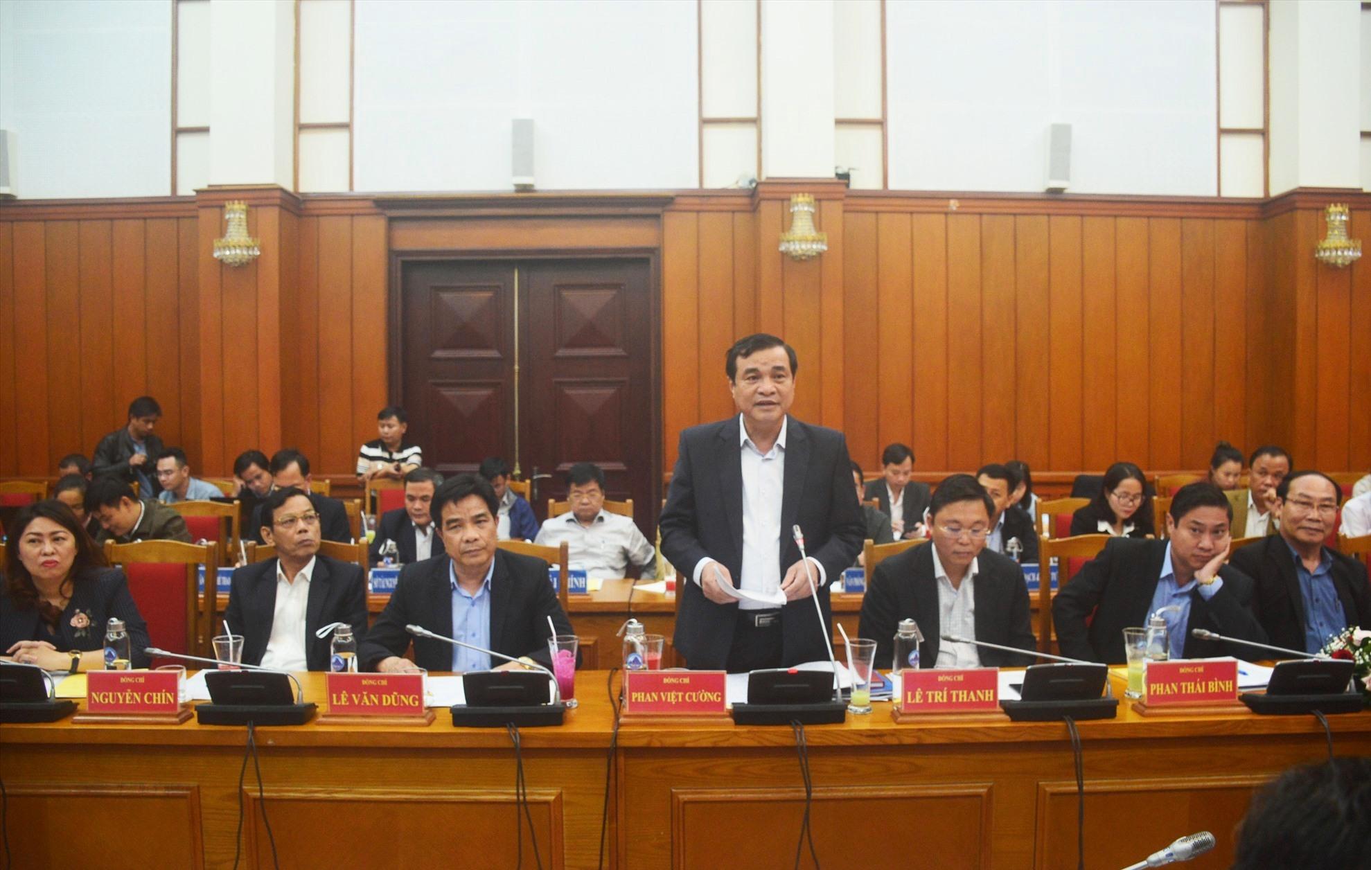 Bí thư Tỉnh ủy Phan Việt Cường phát biểu tại hội nghị. Ảnh: Q.T