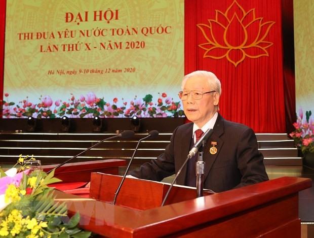 Tổng Bí thư, Chủ tịch nước Nguyễn Phú Trọng phát biểu.chào mừng Đại hội Thi đua yêu nước toàn quốc lần thứ X. (Ảnh: Trí Dũng/TTXVN)