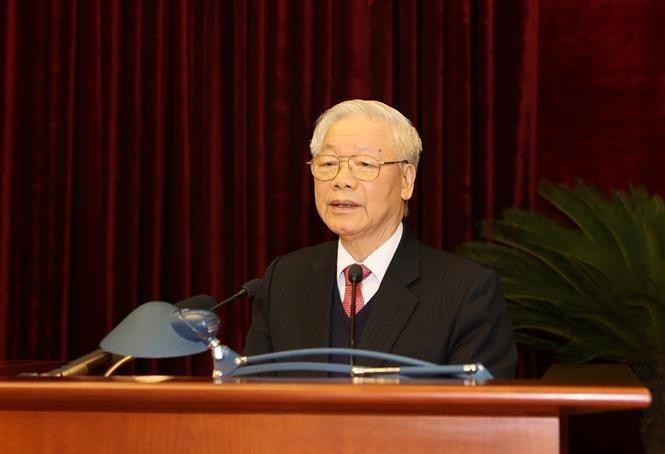 Tổng Bí thư, Chủ tịch nước Nguyễn Phú Trọng phát biểu bế mạc Hội nghị. Ảnh: Trí Dũng/TTXVN