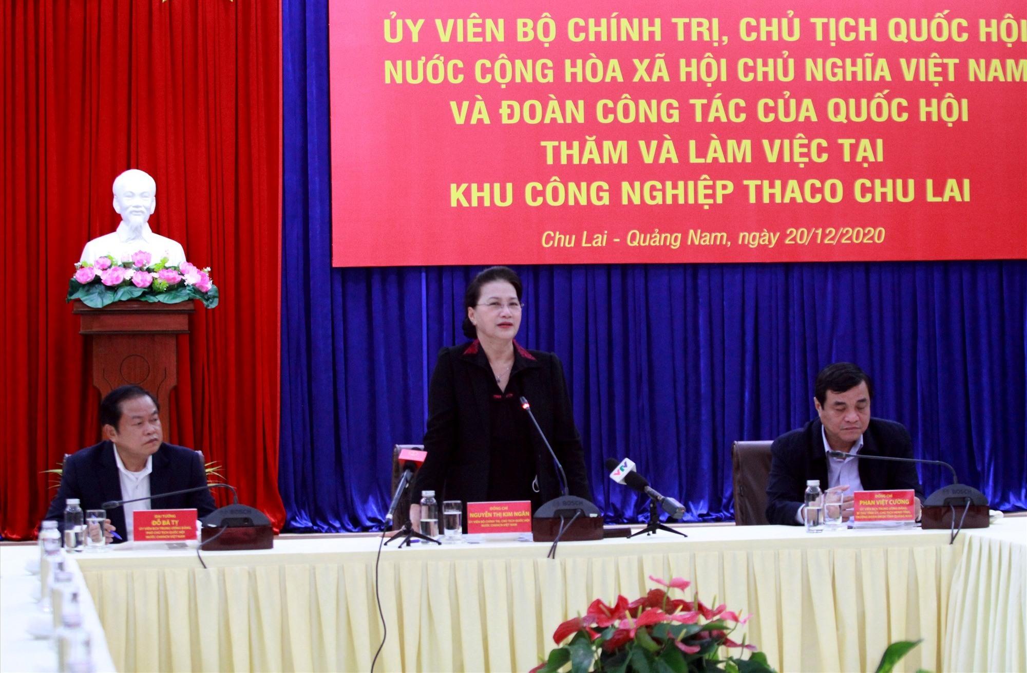 Chủ tịch Quốc hội Nguyễn Thị Kim Ngân đánh giá cao những nỗ lực của Quảng Nam trong phòng chống dịch, khắc phục hậu quả thiên tai cũng như phát triển kinh tế xã hội năm 2020.