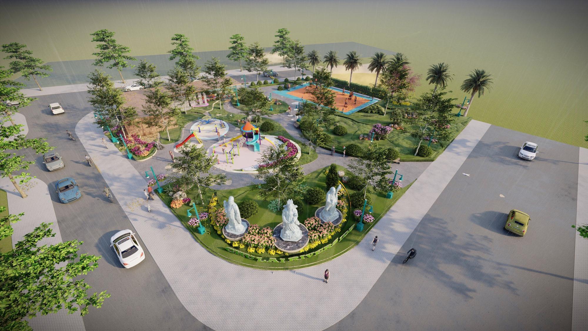 Phối cảnh công viên trung tâm đang được triển khai xây dựng.