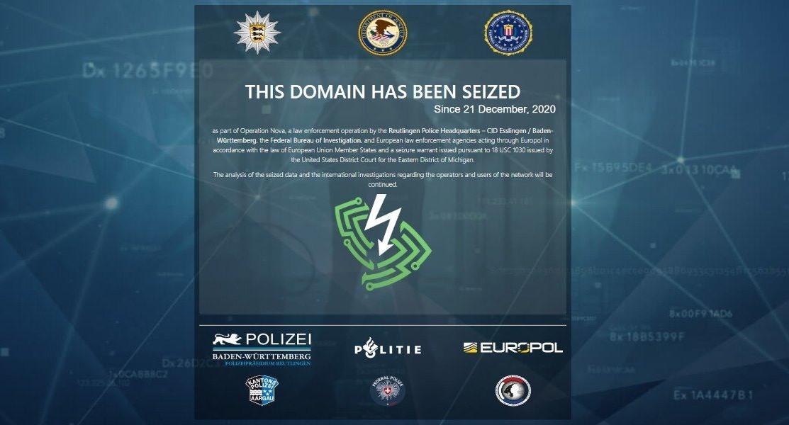 Một trang web của đường dây tôi phạm mạng được cài thông báo đã đóng cửa. Ảnh: bleepingcomputer