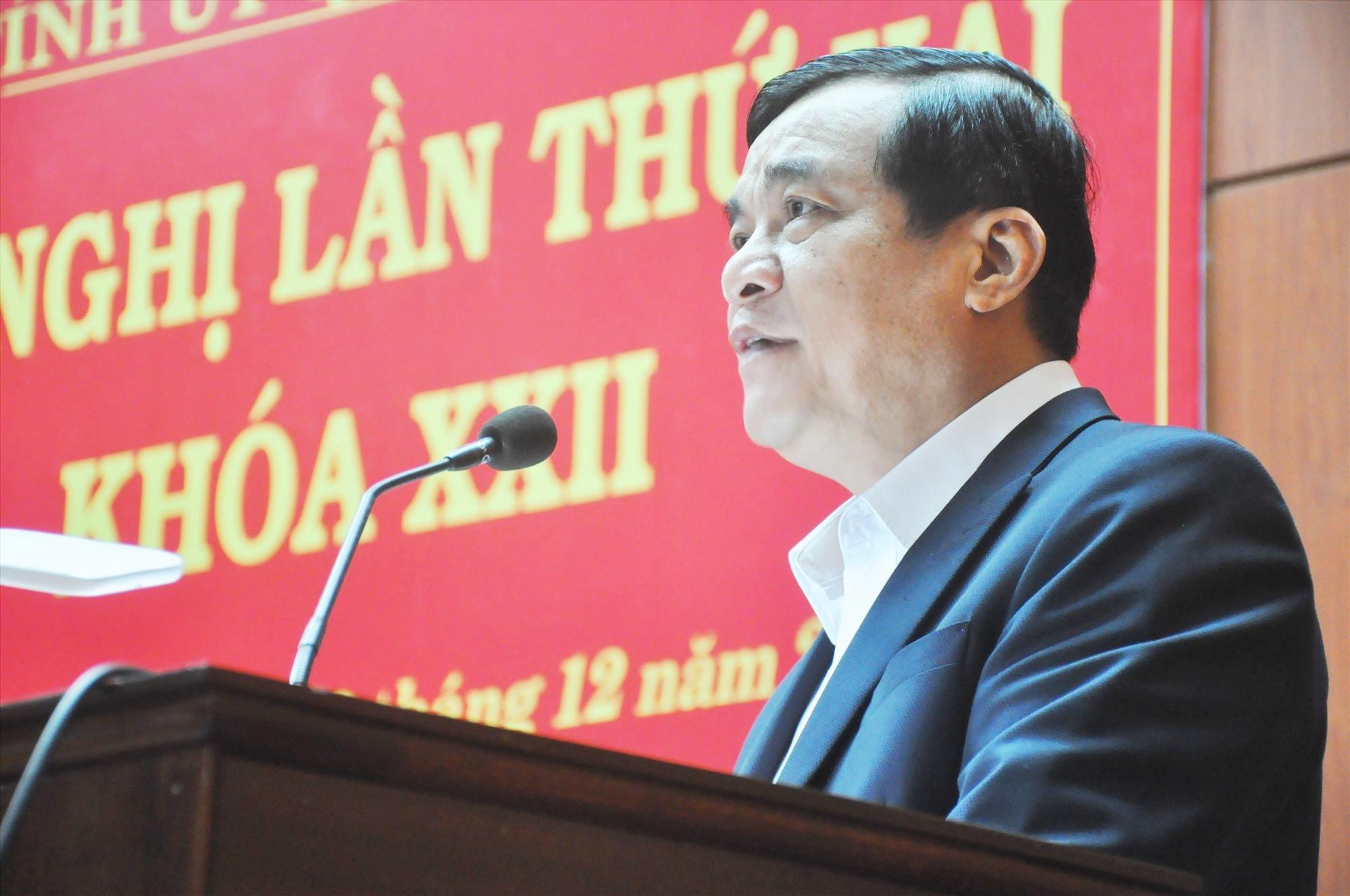Bí thư Tỉnh ủy Phan Việt Cường phát biểu khai mạc Hội nghị Tỉnh ủy lần thứ hai. Ảnh: N.Đ