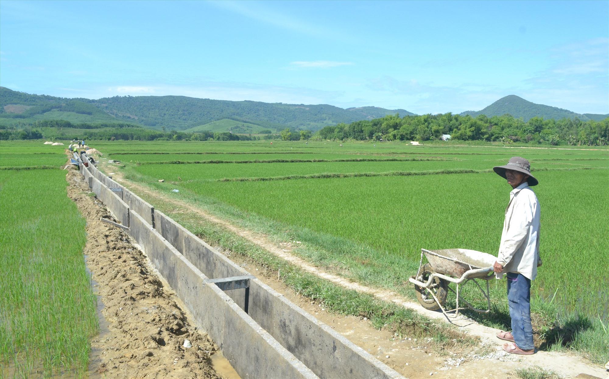 Nông dân xã Bình Phú tham gia xây dựng kênh mương nội đồng để thuận lợi cho sản xuất. Ảnh: VIỆT NGUYỄN