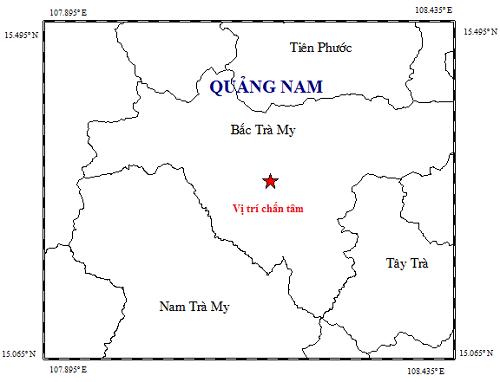 Bản đồ tâm chấn động đất 2.8 độ sáng ngày 17.2 tại Bắc Trà My.