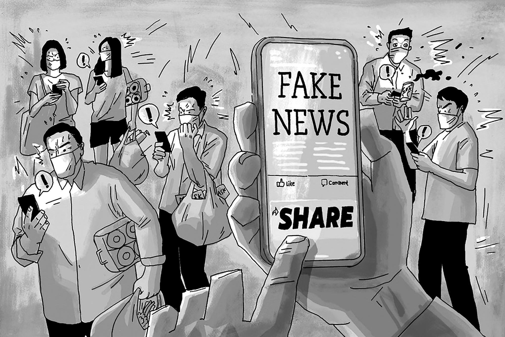 Người dân cần theo dõi tin tức từ các nguồn chính thống, không chia sẻ các thông tin chưa được kiểm chứng. Ảnh minh họa: Bộ Công an.