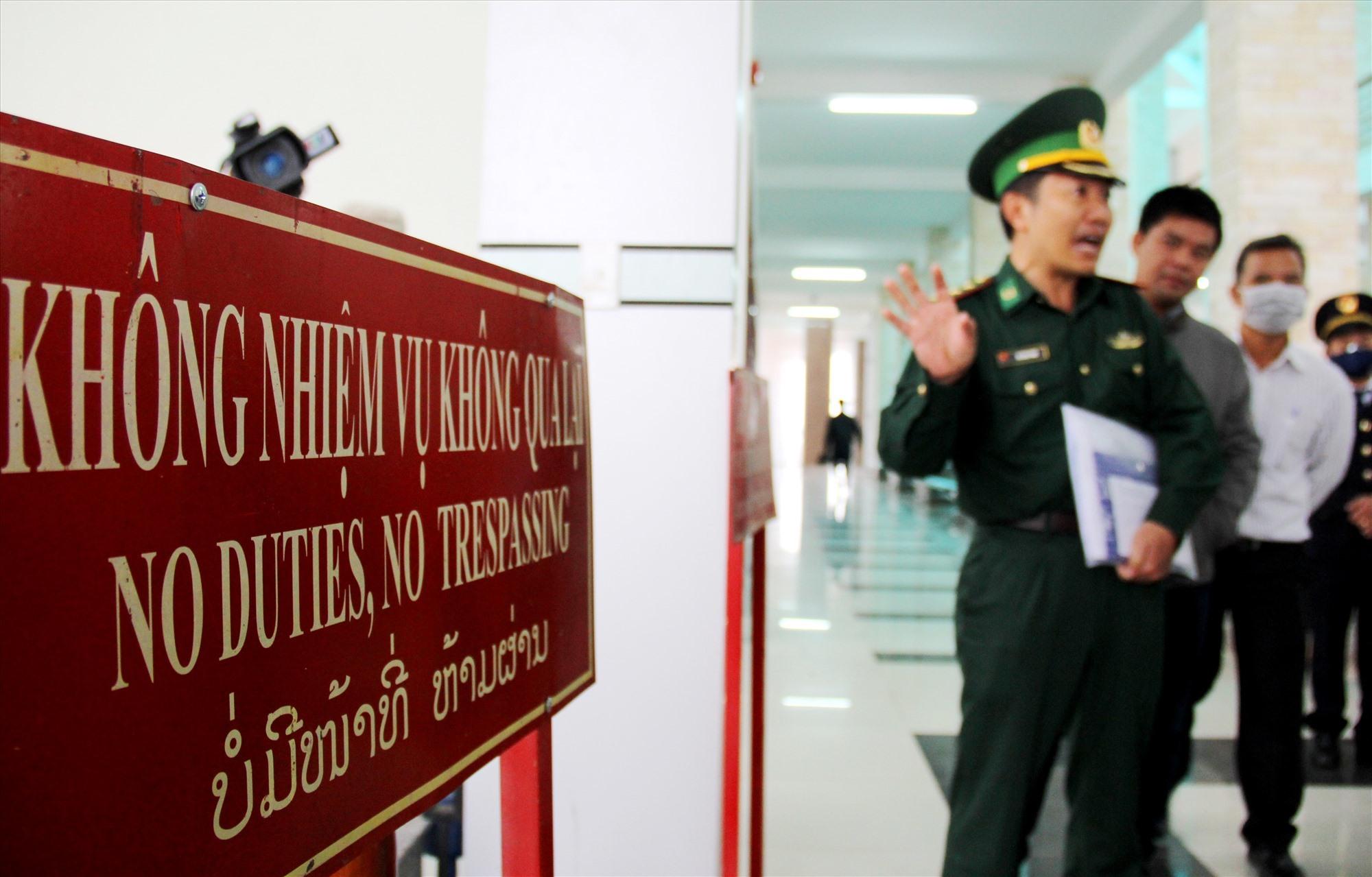 Khu vực cửa khẩu Nam Giang, nơi tiếp nhận và cách ly 9 công dân đồng bào Mông được lực lượng chức năng của Lào bàn giao. Ảnh: A.N