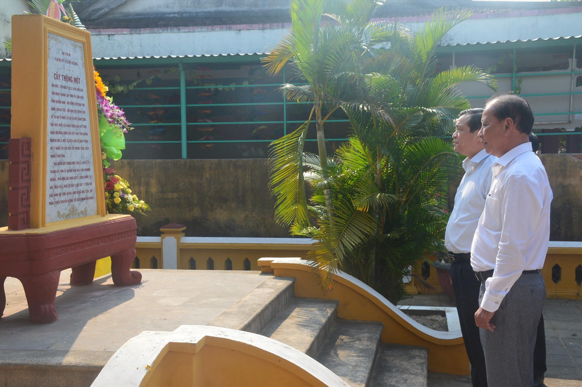 Bí thư Tỉnh ủy Phan Việt Cường thăm di tích Cây Thông Một. Ảnh: Q.T