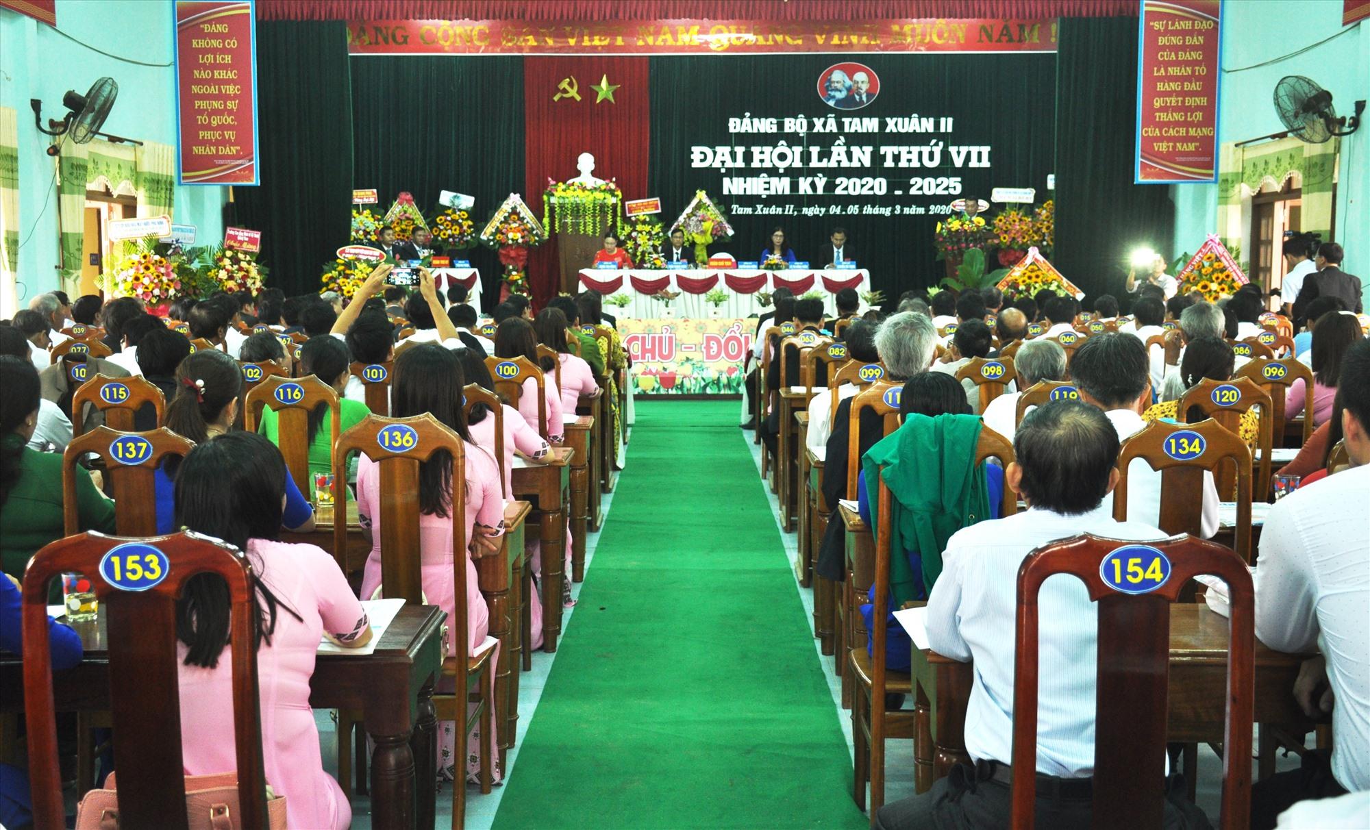 Quang cảnh Đại hội Đảng bộ xã Tam Xuân 2 lần thứ VII, nhiệm kỳ 2020 - 2025. Ảnh: N.Đ