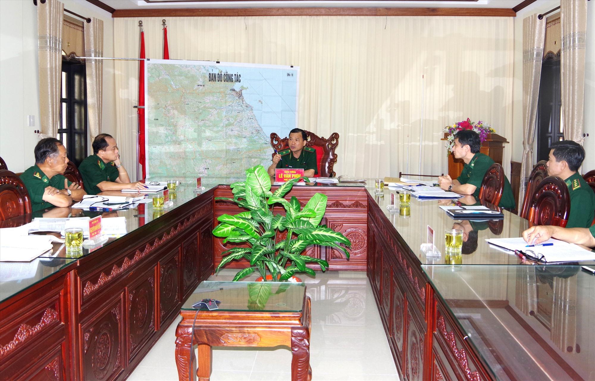 Quan cảnh buổi làm việc tại Bộ chỉ huy BĐBP tỉnh Quảng Nam