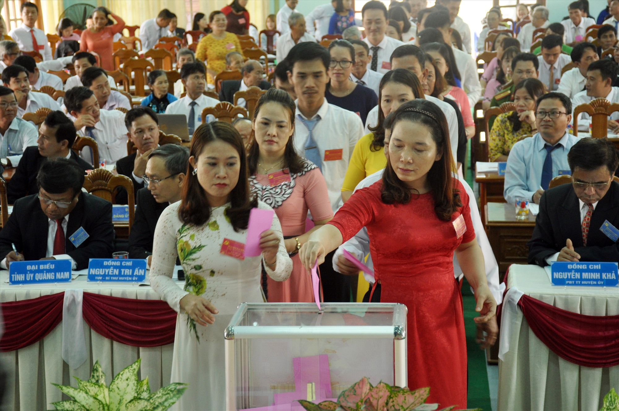 Đầu tháng 3.2020, Huyện ủy Núi Thành chọn Đảng bộ xã Tam Xuân 2 tổ chức đại hội trước để rút kinh nghiệm chỉ đạo đại hội trong toàn huyện. Ảnh: N.Đ