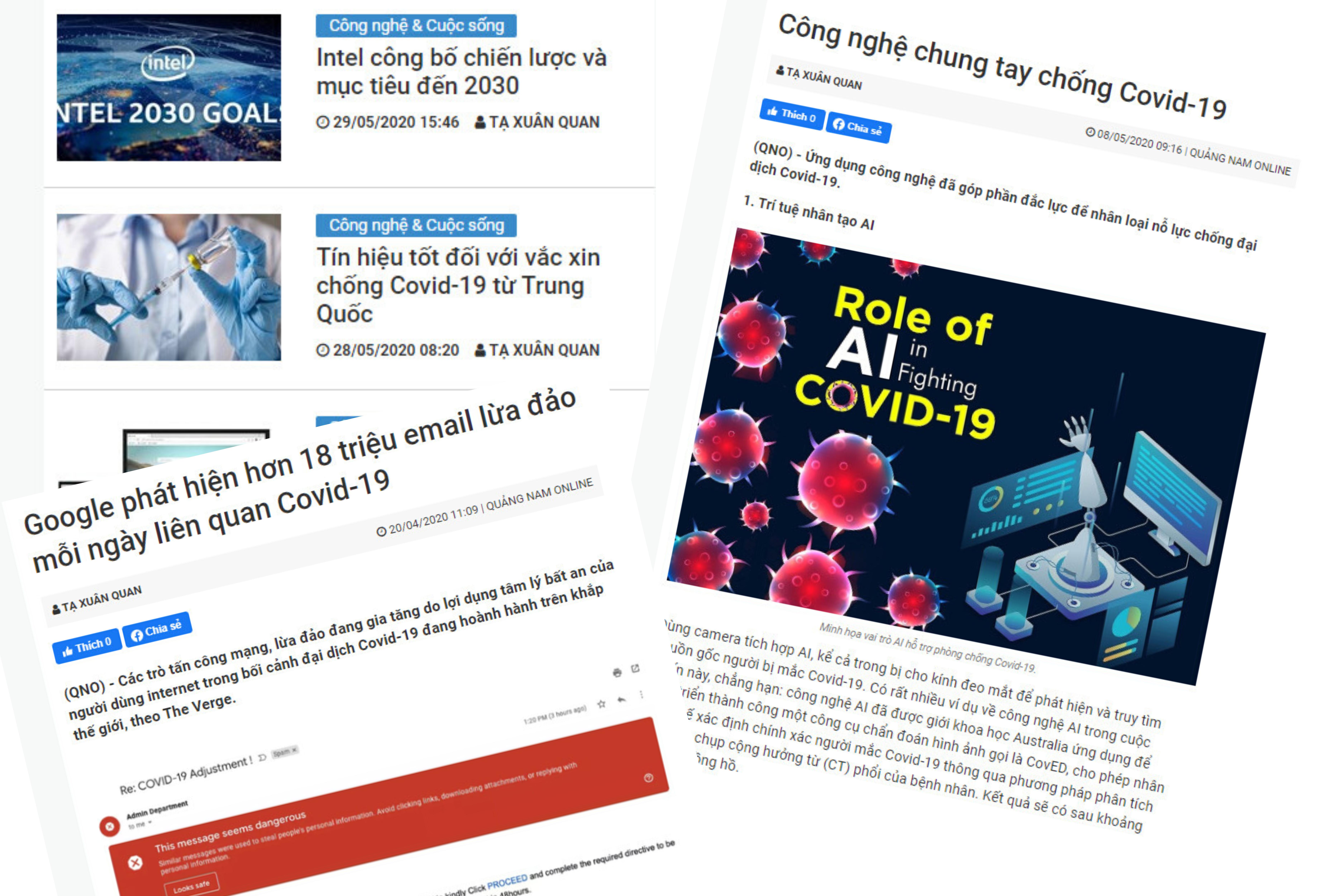 Những bài báo của CTV Tạ Xuân Quan ở chuyên mục Công nghệ đời sống của báo Quảng Nam online. Ảnh: TH.TRÍ