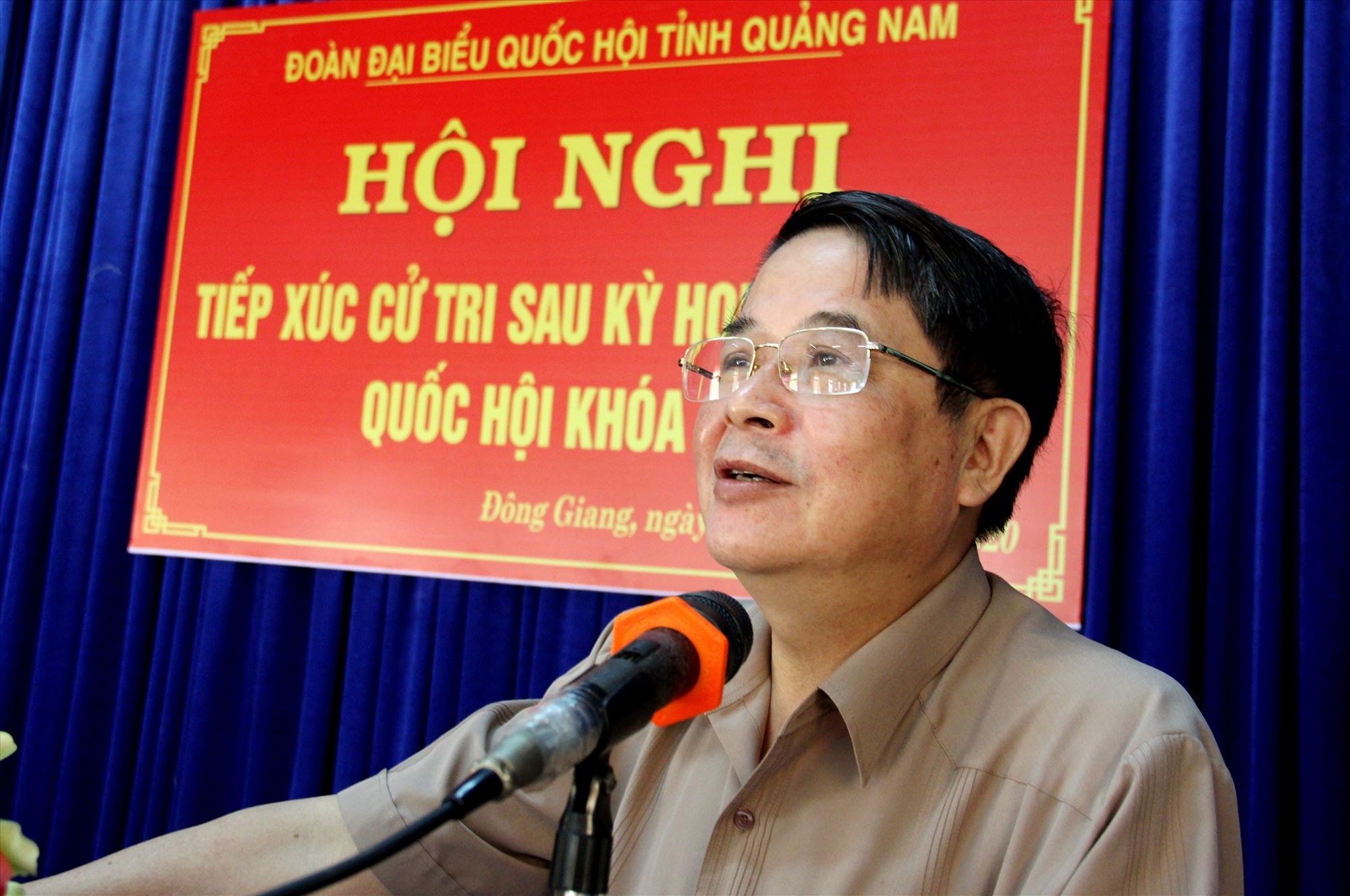 Đại biểu Nguyễn Đức Hải thông tin với cử tri nhiều nội dung sau kỳ họp thứ 9 (khóa XIV) của Quốc hội. Ảnh: A.N