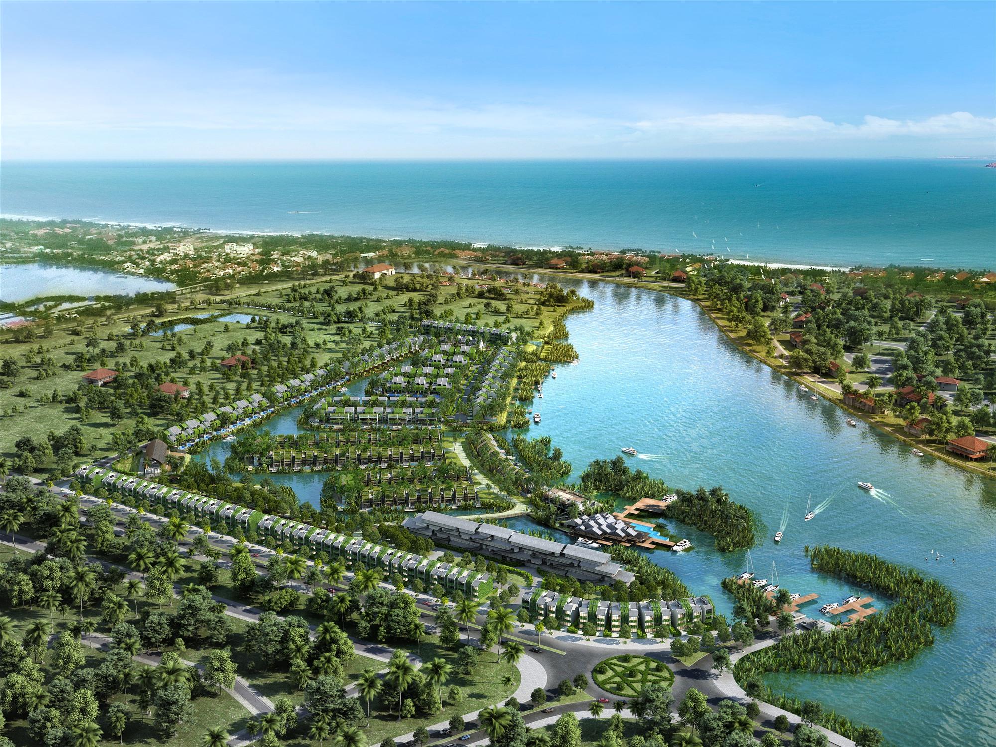 Toàn cảnh dự án Casamia Hội An với ưu thế cận sông, hướng biển.