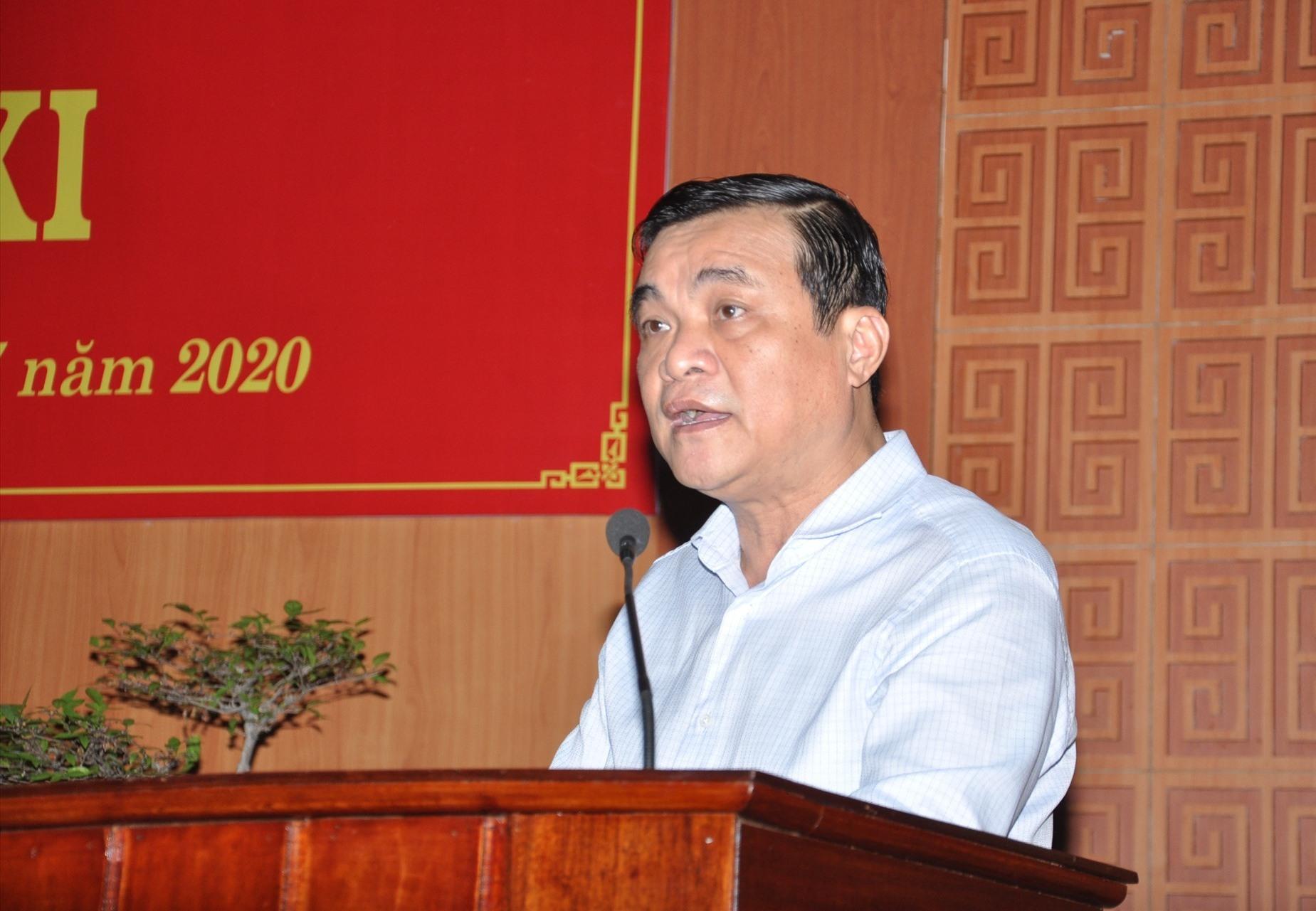 Bí thư Tỉnh ủy Phan Việt Cường phát biểu khai mạc hội nghị. Ảnh: X.P