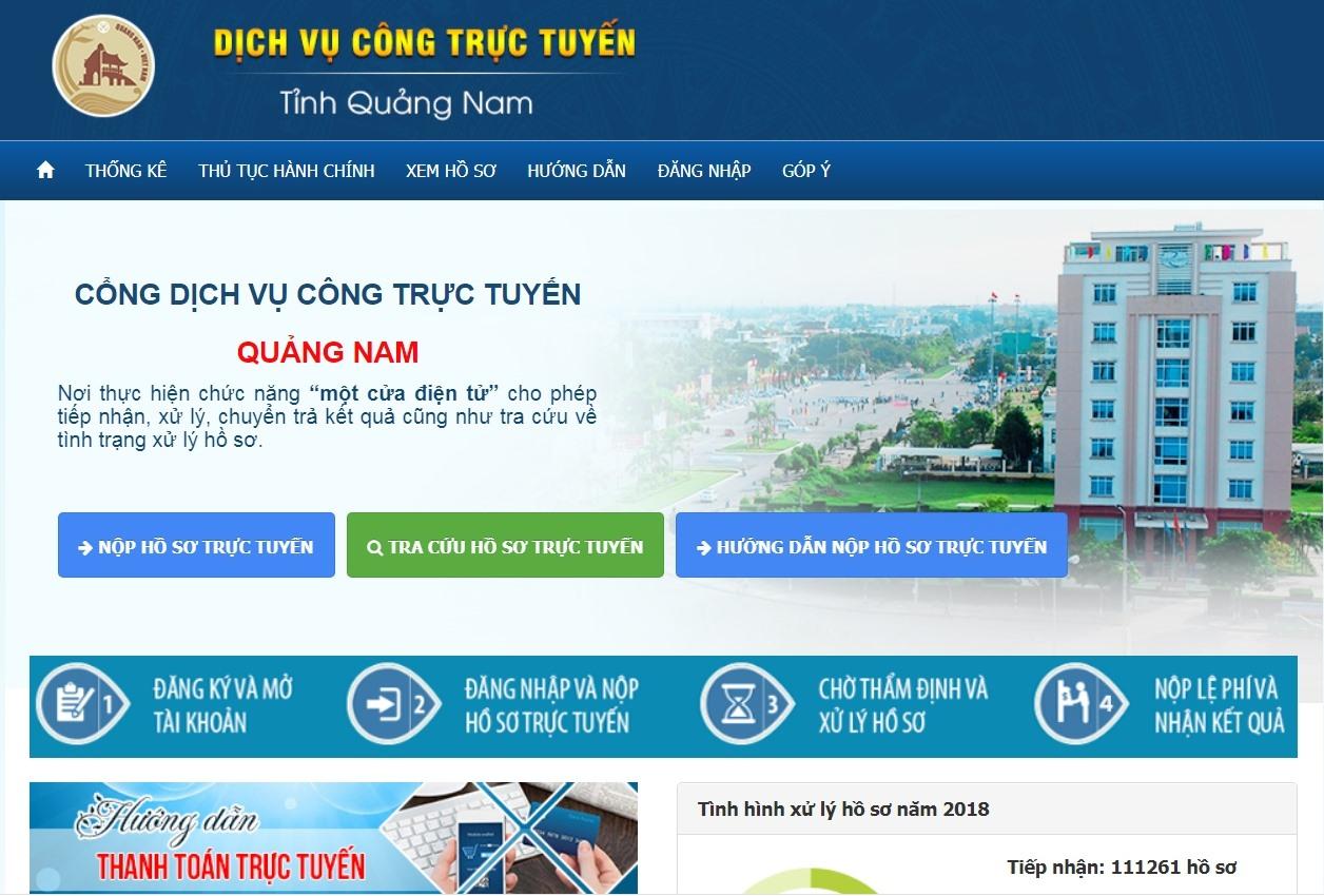 Giao diện Cổng dịch vụ công tỉnh Quàng Nam