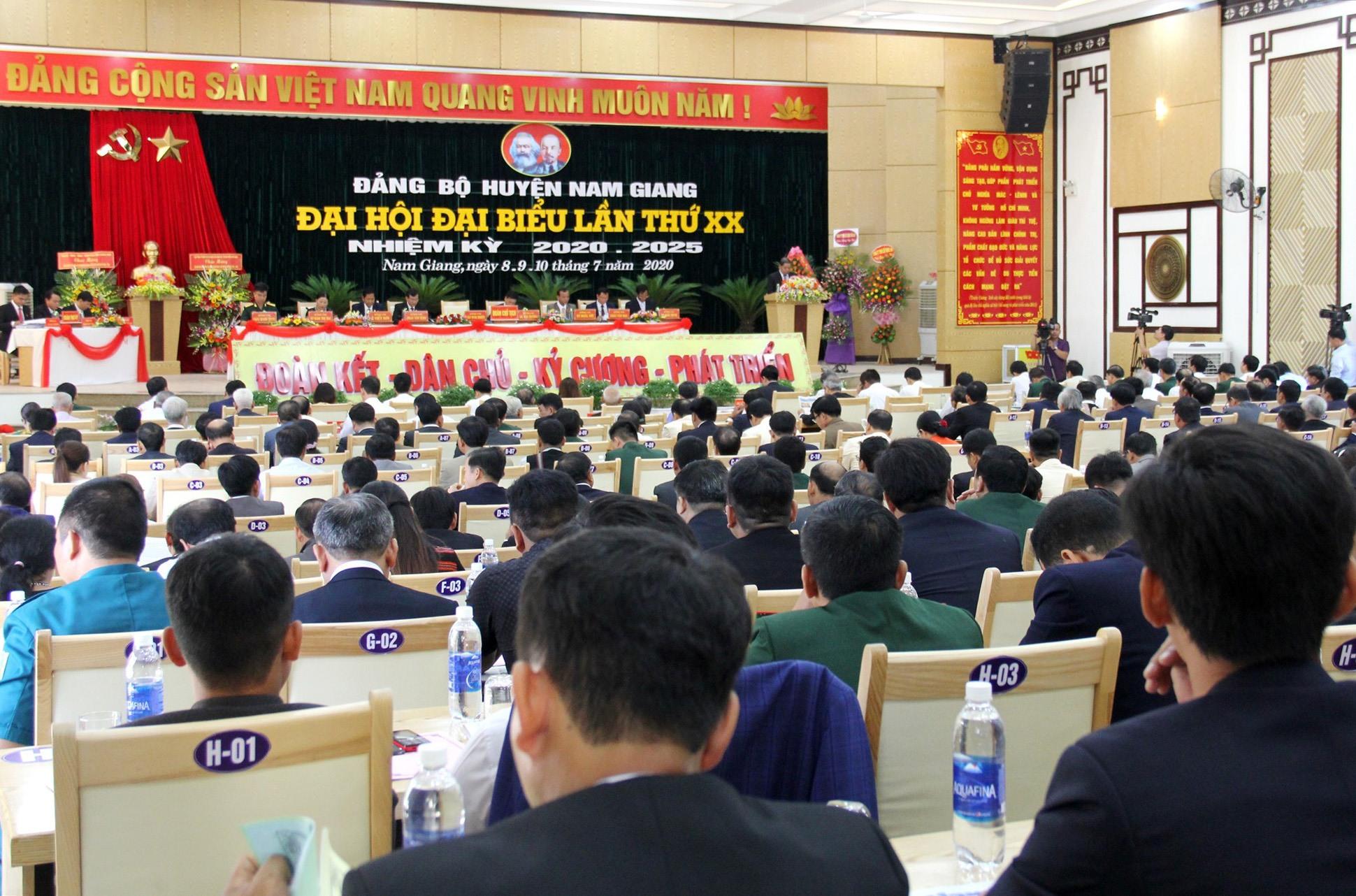 Quang cảnh Đại hội đại biểu Đảng bộ huyện Nam Giang nhiệm kỳ 2020 - 2025. Ảnh: A.N