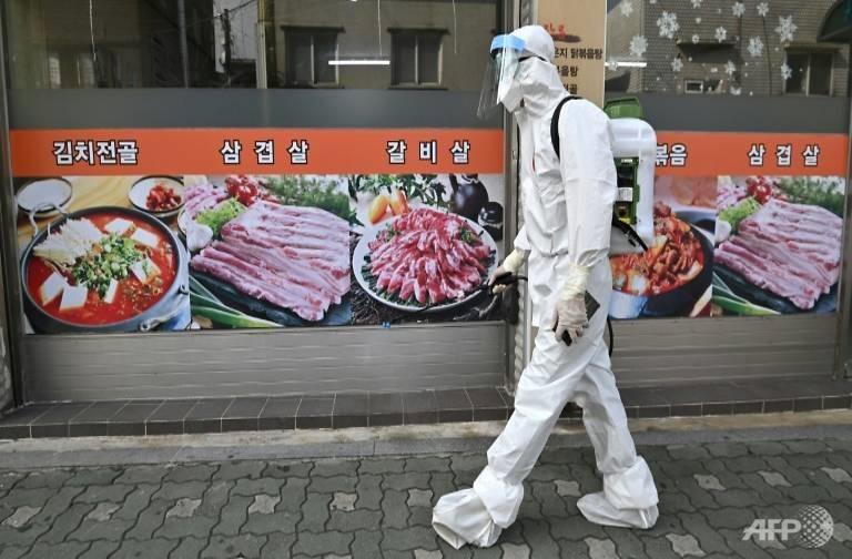 Phun thuốc diệt khuẩn để ngăn chặn vi rút corona lây lan rộng tại Hàn Quốc. Ảnh: AFP