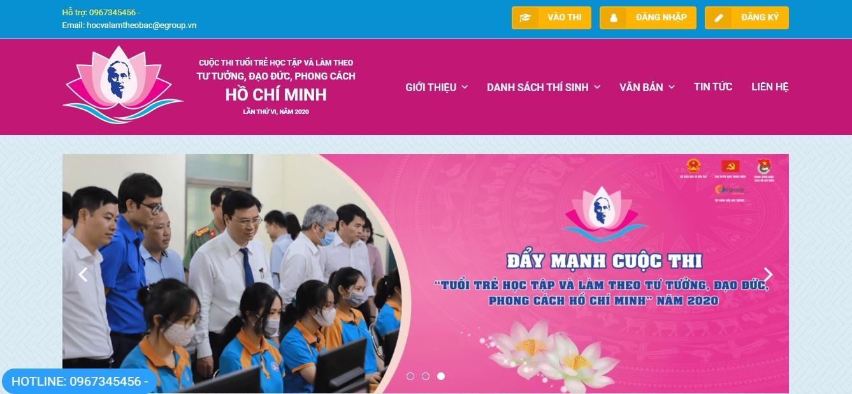 Giao diện website cuộc thi tuổi trẻ học tập và làm theo tư tưởng, đạo đức, phong cách Hồ Chí Minh. Ảnh: THÁI CƯỜNG