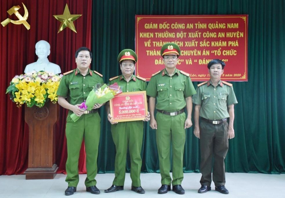 Công an huyện Đại Lộc được Công an tỉnh thưởng nóng. Ảnh: Q.H