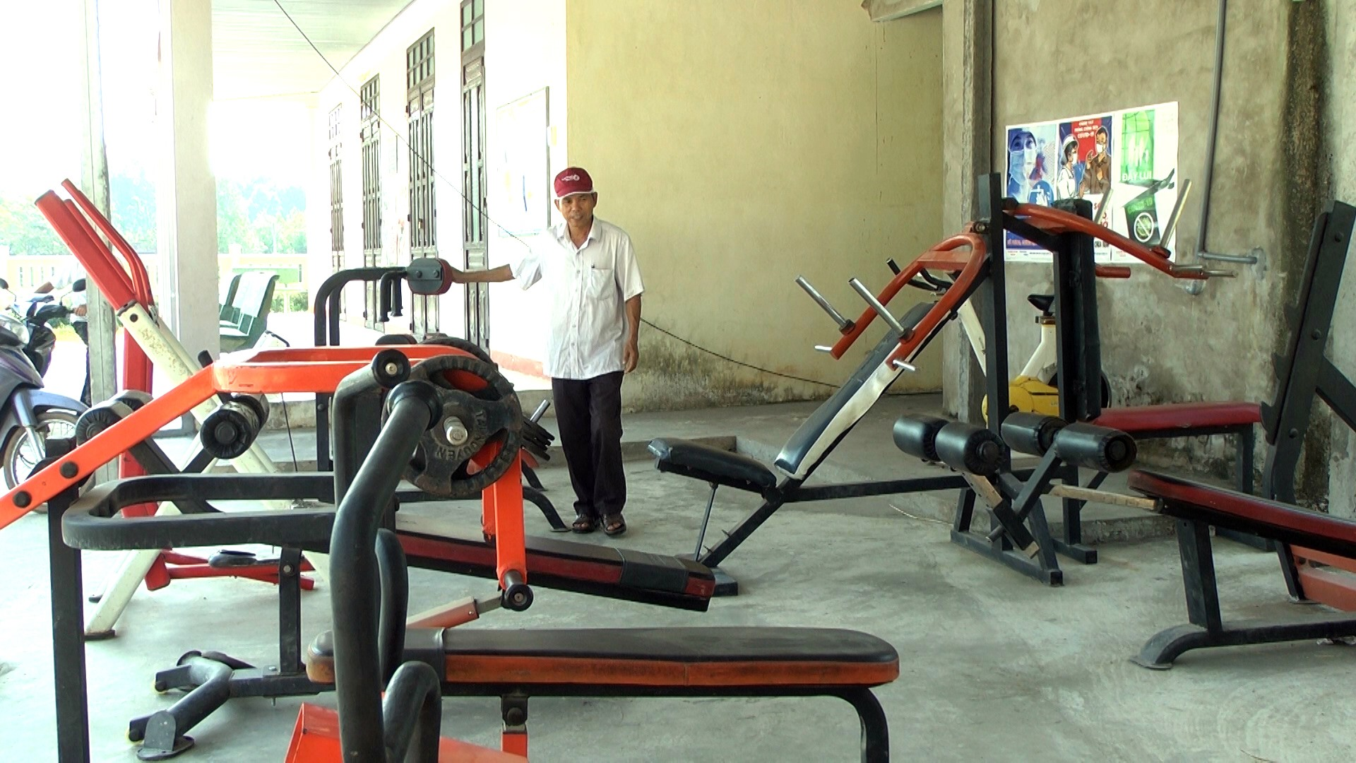 Khu tập luyện nâng cao thể lực cho người dân ở thôn Nhuận Sơn (Duy Phú, Duy Xuyên). Ảnh: T.L