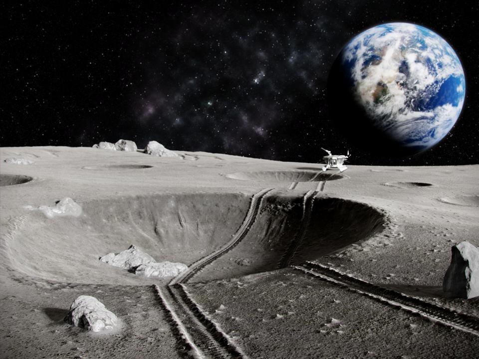 Các phi hành gia sẽ làm việc cùng với robot để tìm kiếm và khai thác nước, oxy trên mặt trăng. Ảnh: Getty Images.